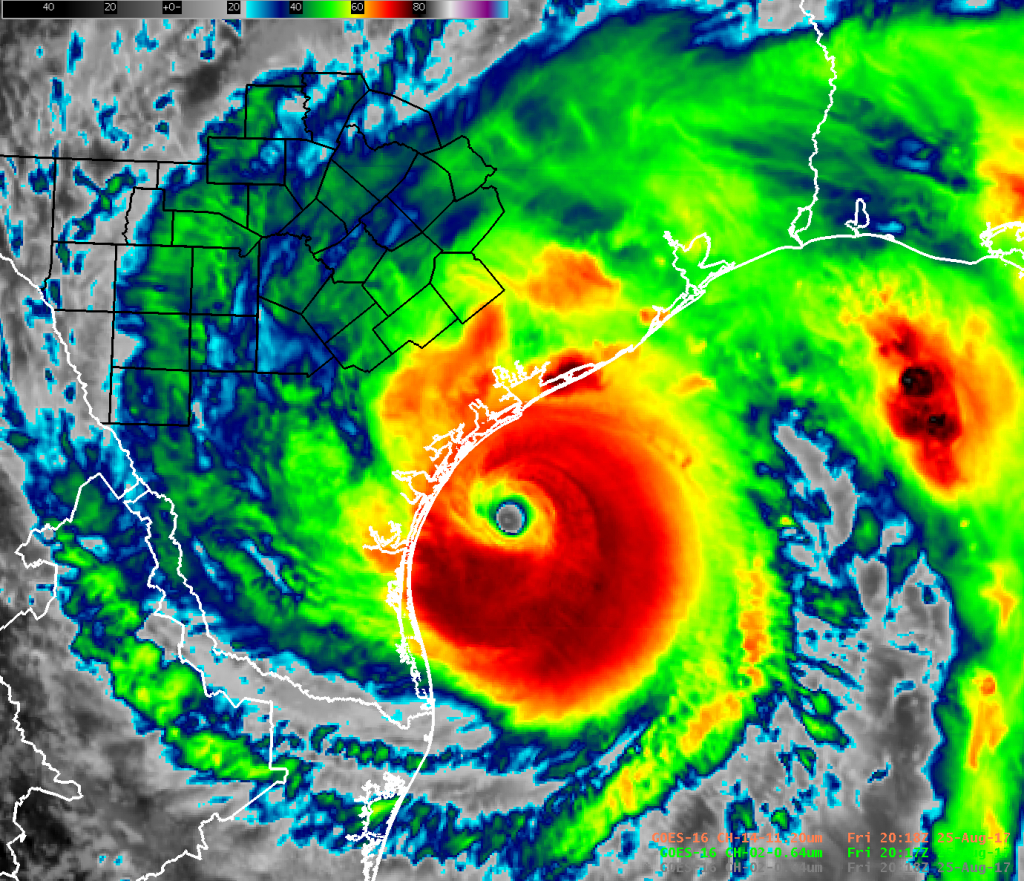Hurricane Harvey 2017 - Impacts To South Central Texas - Texas Satellite Weather Map