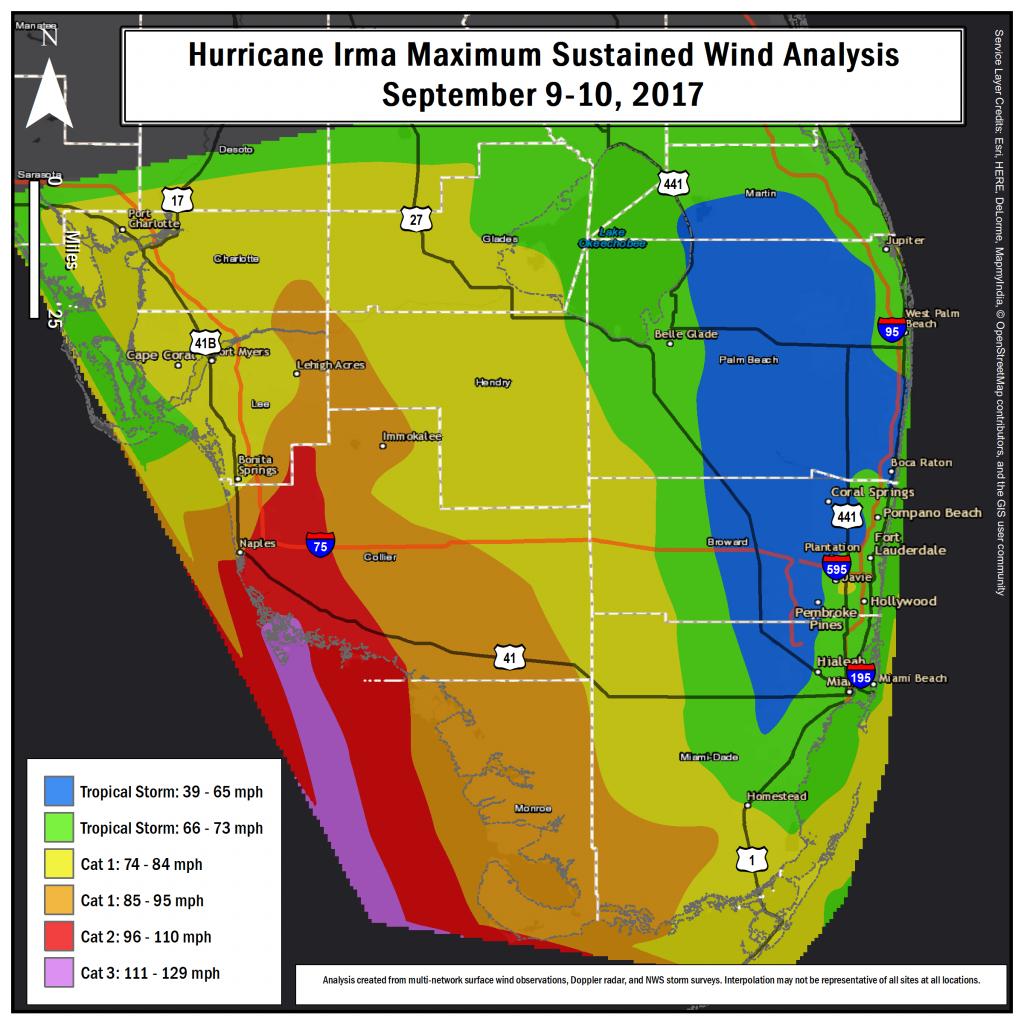 Hurricane Irma Local Report/summary - South Florida Weather Map