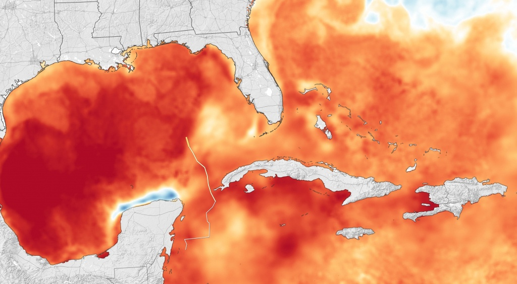 Hurricane Michael Heads For Florida - Florida Water Temperature Map