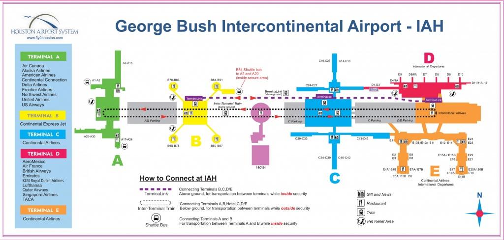 Iah Airport Map - Houston Iah Map (Texas - Usa) - Houston Texas Map Airports
