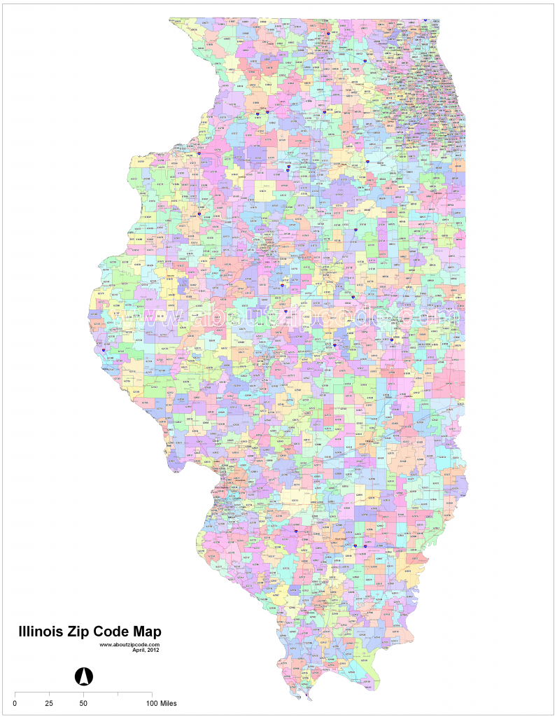 Illinois Zip Code Maps - Free Illinois Zip Code Maps - Chicago Zip Code Map Printable