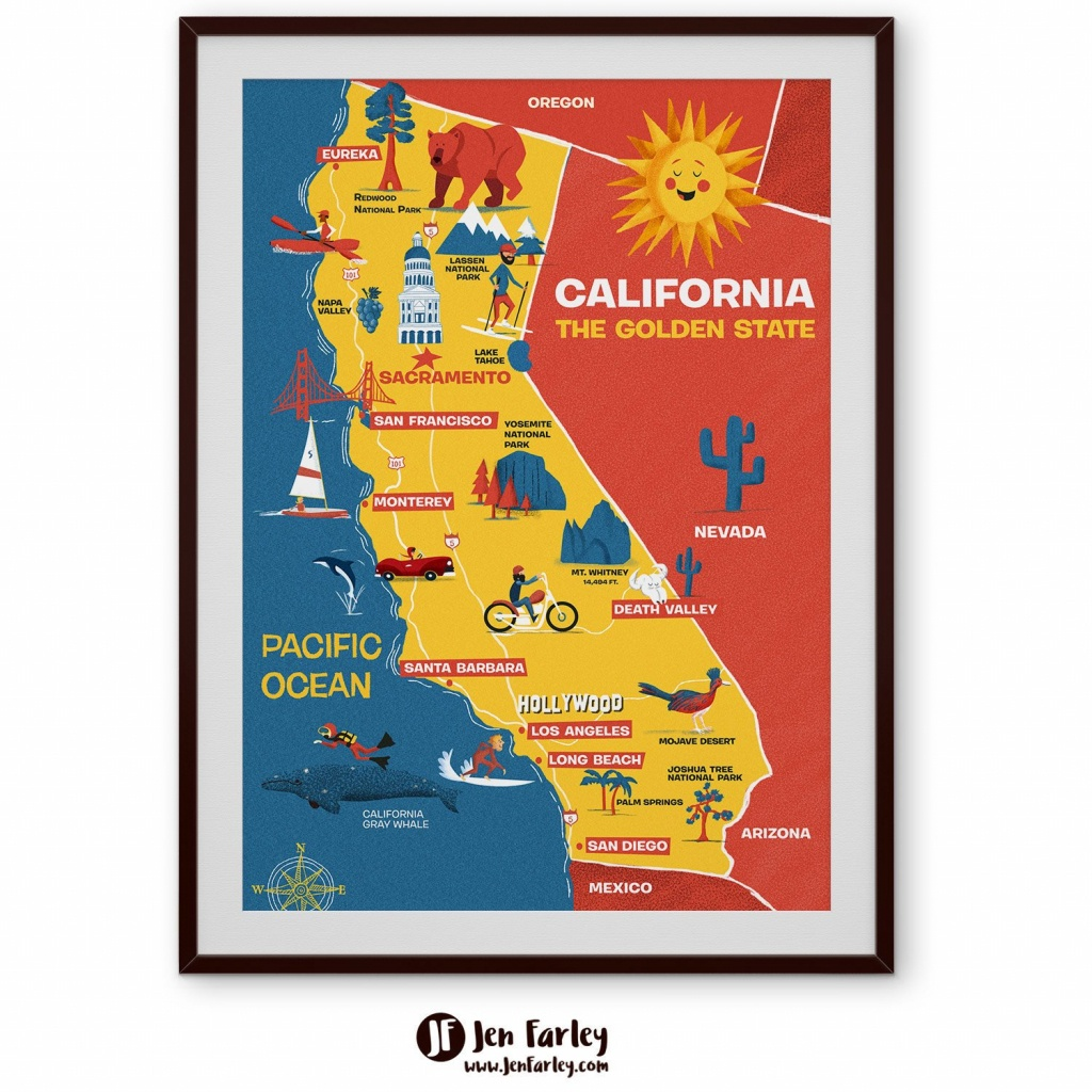 Illustrated Map Of California Cute Golden State Map Kids | Etsy - Illustrated Map Of California
