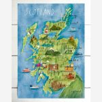 Illustrated Map Of Scotland / Scotland Print / Scotland Map / A5/a4/a3 /  Watercolour Scotland Map / Scotland Wall Decor / Scotland Gift   Printable Map Of Mull