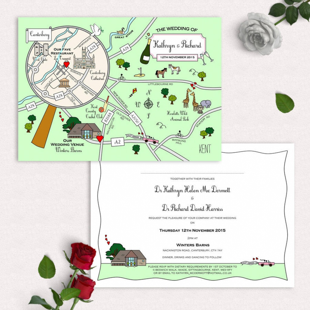Illustrated Map Party Or Wedding Invitationcute Maps - Printable Maps For Wedding Invitations Free