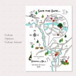 Illustrated Map Wedding Or Party Invitationcute Maps   Printable Maps For Wedding Invitations Free