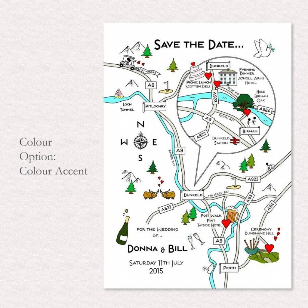 Illustrated Map Wedding Or Party Invitationcute Maps - Printable Maps For Wedding Invitations Free