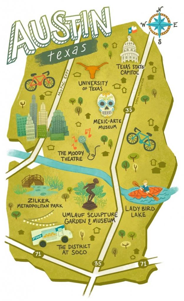 Illustrated Maps Of Atlanta, Ga, Austin, Tx, And Seattle, Wa For The - Atlanta Texas Map