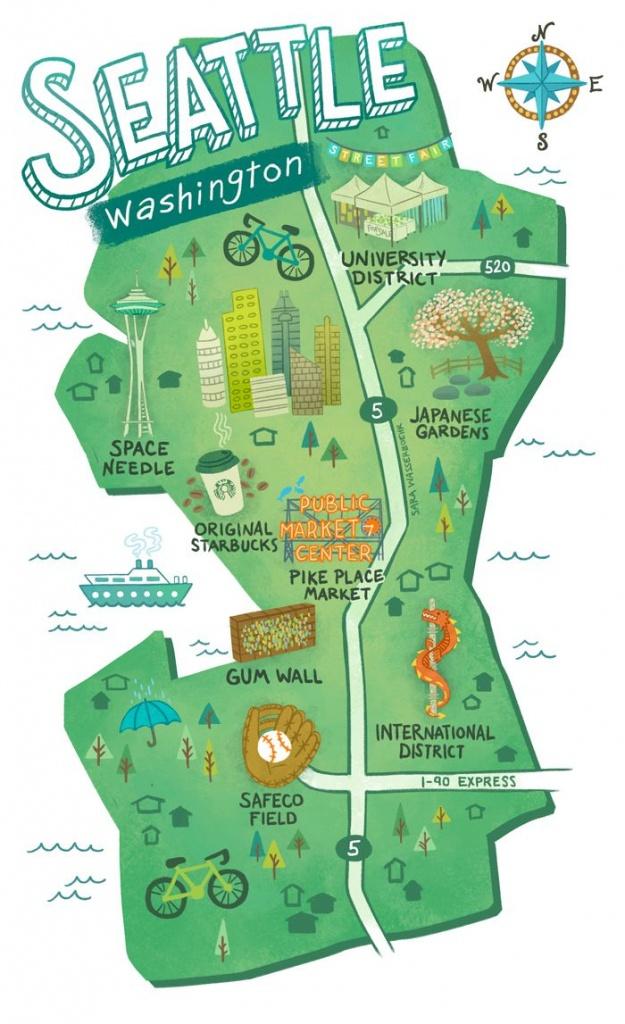 Illustrated Maps Of Atlanta, Ga, Austin, Tx, And Seattle, Wa For The - Texas Rut Map 2017