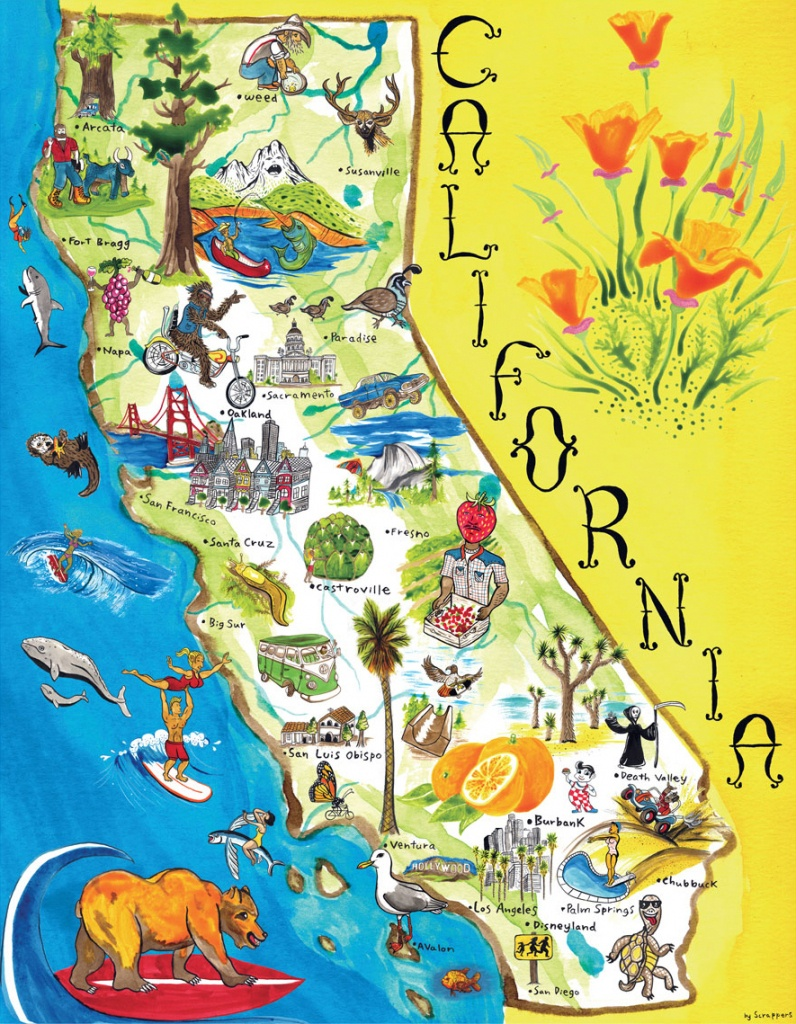 Illustrated Tourist Map Of California. California Illustrated - California Tourist Map