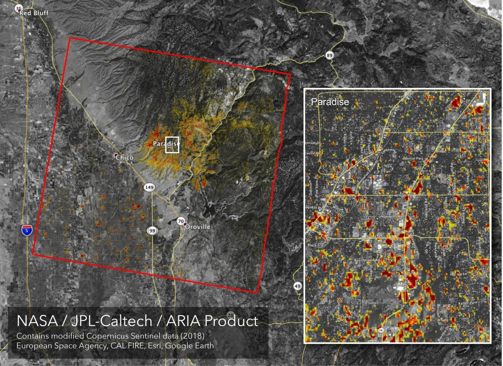 Image: Updated Nasa Damage Map Of Camp Fire From Space - Map Of California Fire Damage
