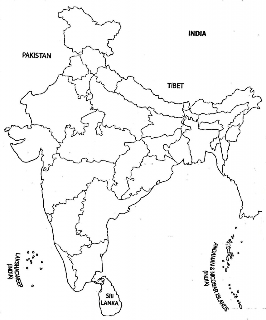 India Map Outline A4 Size | Map Of India With States | India Map - Political Outline Map Of India Printable