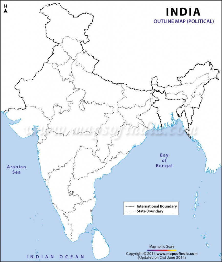 India Political Map In A4 Size - Map Of India Outline Printable