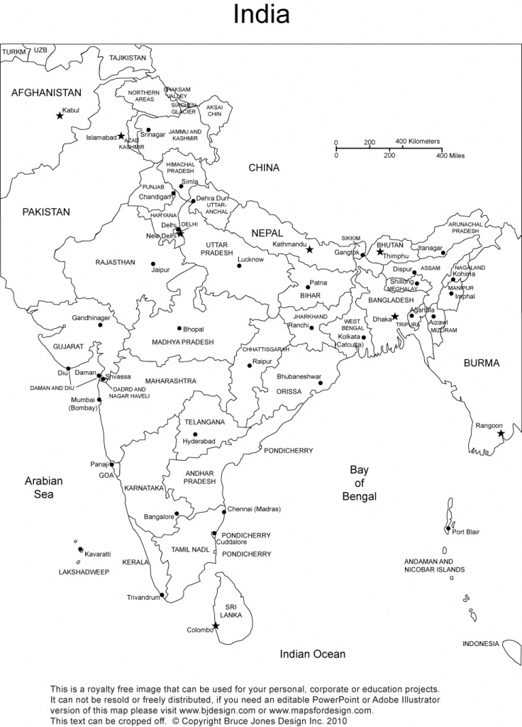 India Printable, Blank Maps, Outline Maps • Royalty Free - India Map Printable Free