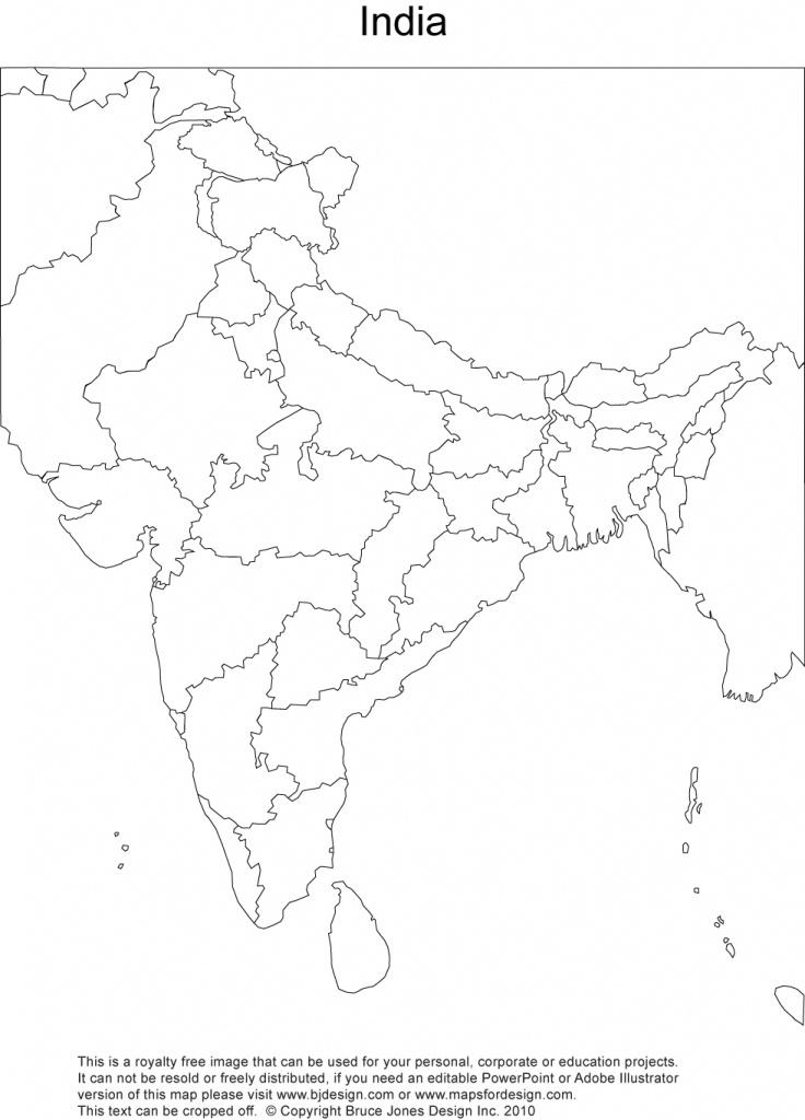 India Printable, Blank Maps, Outline Maps • Royalty Free - Political Outline Map Of India Printable