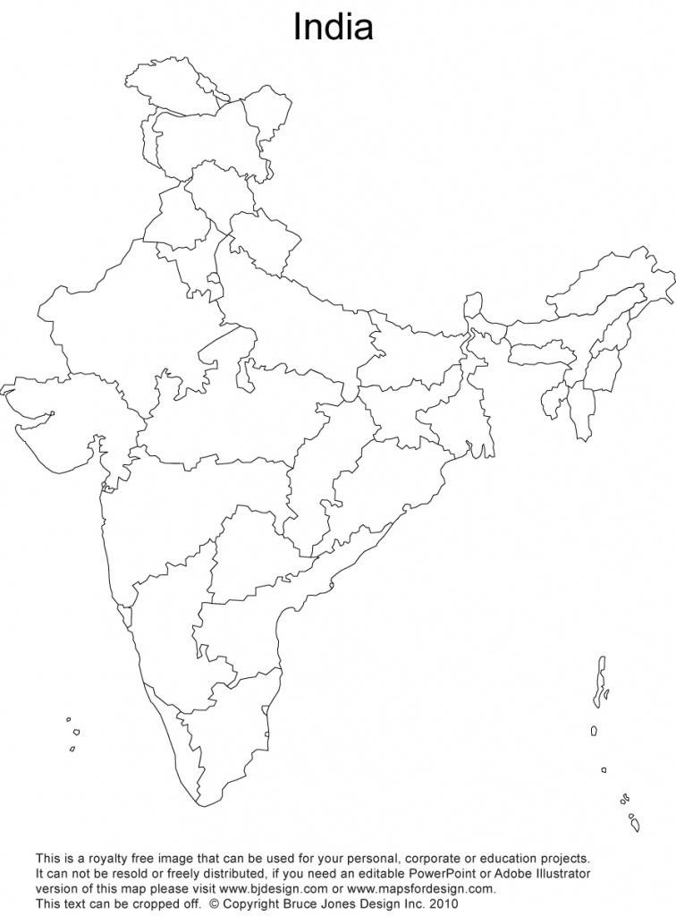 India Printable, Blank Maps, Outline Maps • Royalty Free - Printable Outline Map Of India
