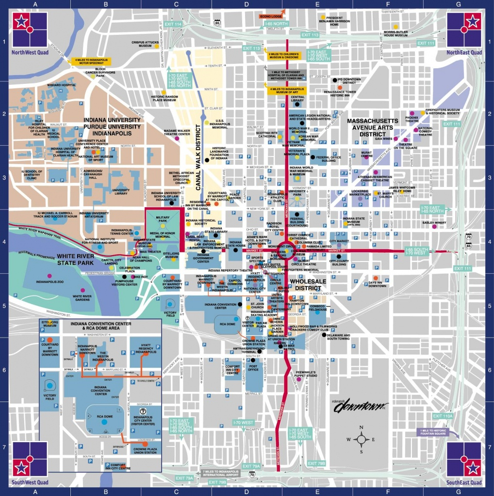 Indianapolis Downtown Map - Map Of Downtown Indy (Indiana - Usa) - Downtown Indianapolis Map Printable