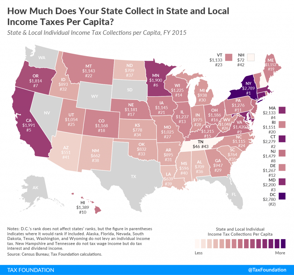 Individual Income Tax Collections Per Capita | Tax Foundation - Texas Property Tax Map