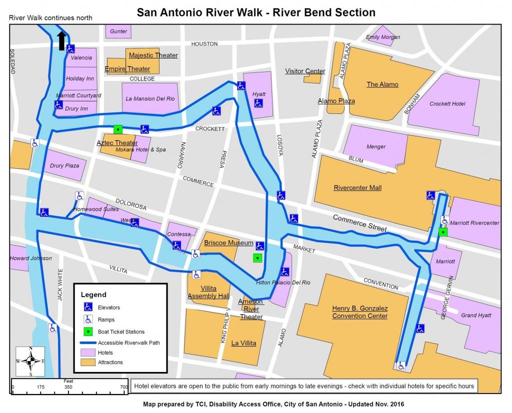 Information On Disability Access On The San Antonio Riverwalk - Map Of Hotels In San Antonio Texas