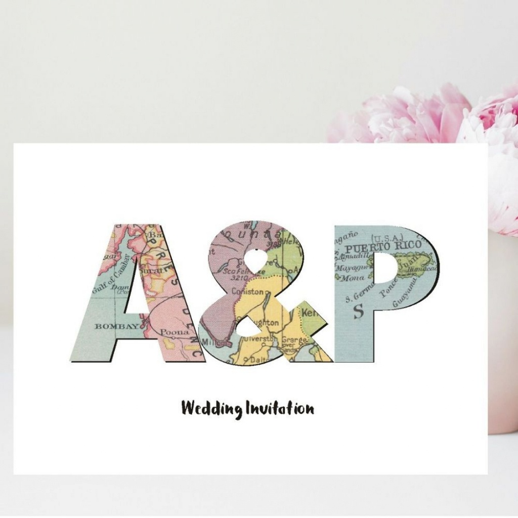 Initials Vintage Map Wedding Invitations - Personalised With 3 Maps - Printable Maps For Wedding Invitations Free