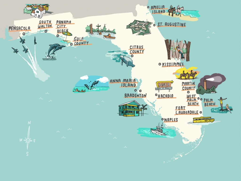 Interactive Florida Map - Laura Barnard / Map Illustrator - Anna Maria Island In Florida Map