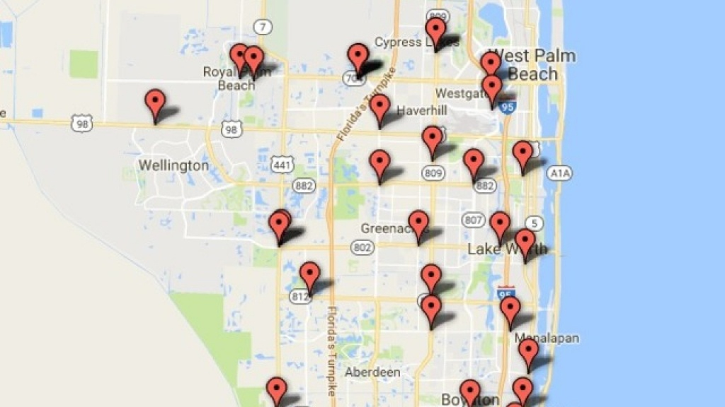 Interactive Map: Gas Pump Skimmers Found In Palm Beach County - Treasure Coast Florida Map