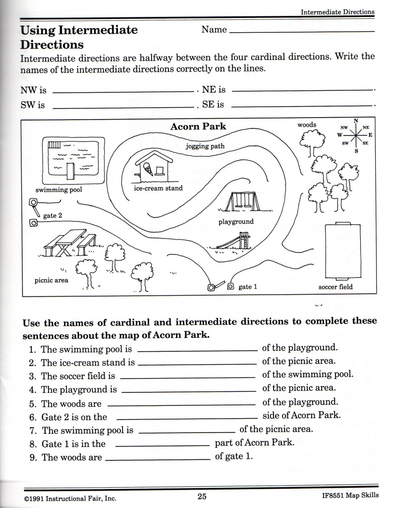 Intermediate Directions Worksheet | Graphic Design & Logos | Map - Free Printable Maps And Directions