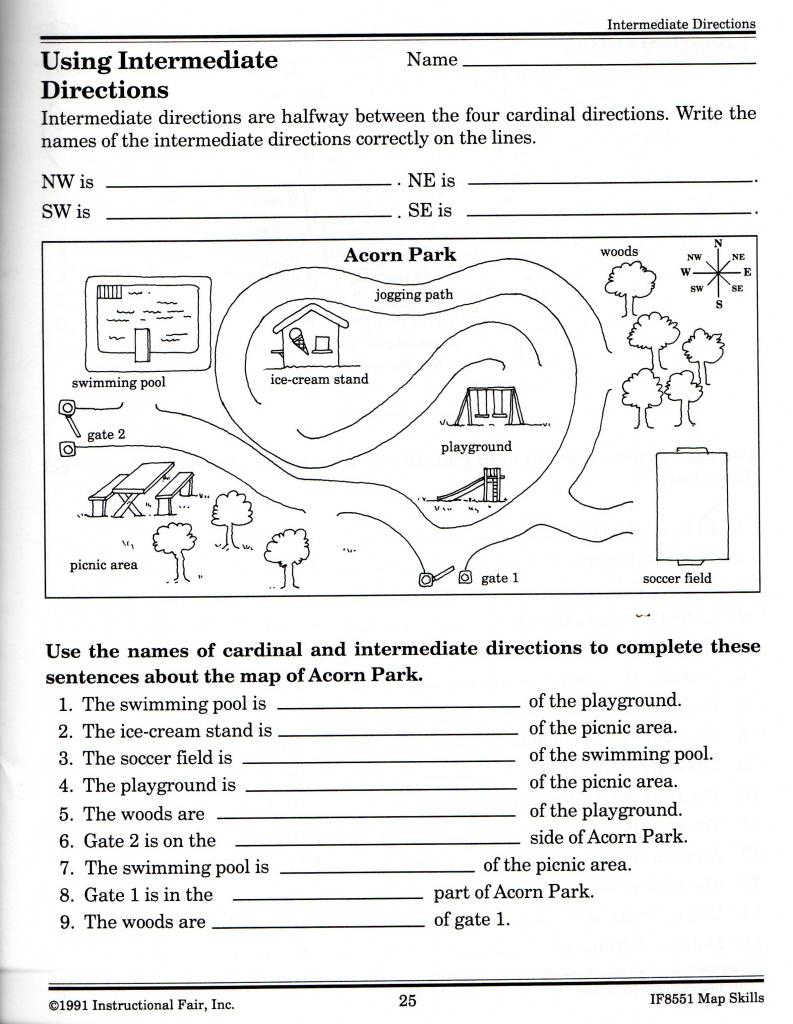 Intermediate Directions Worksheet | Graphic Design & Logos | Map - Map Skills Quiz Printable