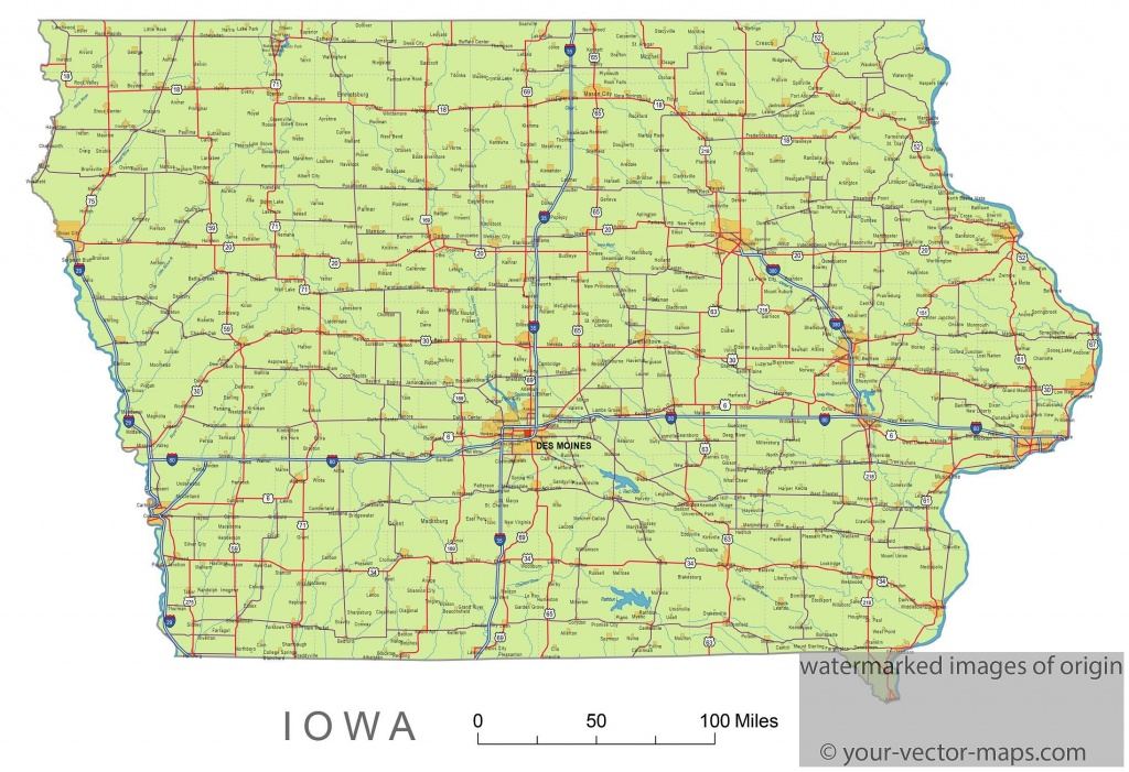 Iowa State Route Network Map. Iowa Highways Map. Cities Of Iowa - Printable Map Of Iowa