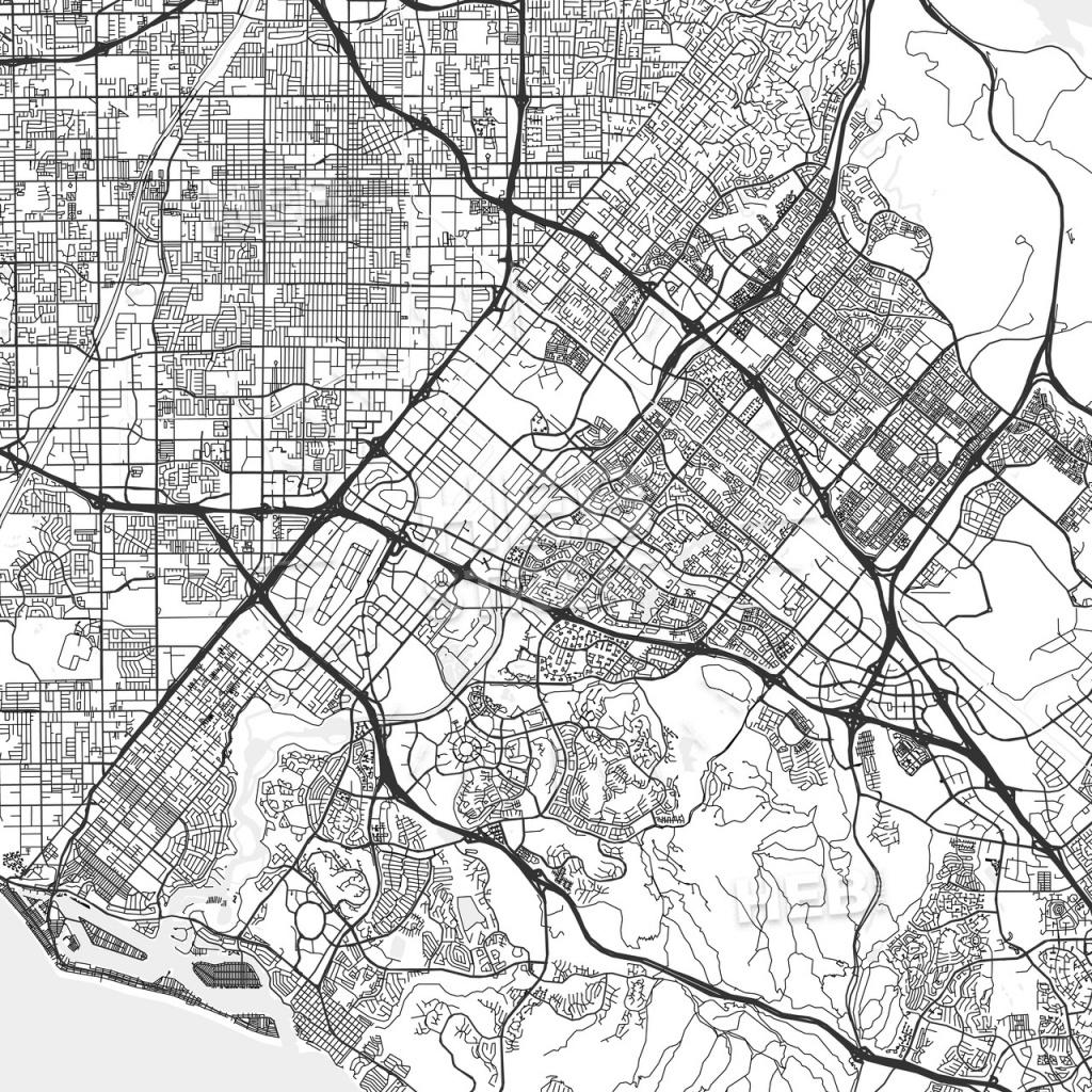 Irvine, California - Area Map - Light | Hebstreits Sketches - Irvine California Map