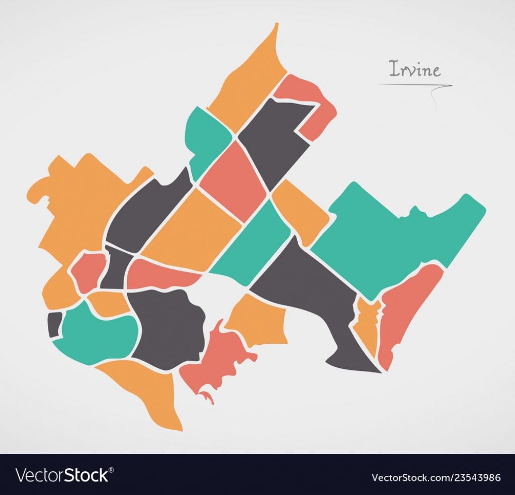 Irvine California Map With Neighborhoods And Vector Image - Irvine California Map