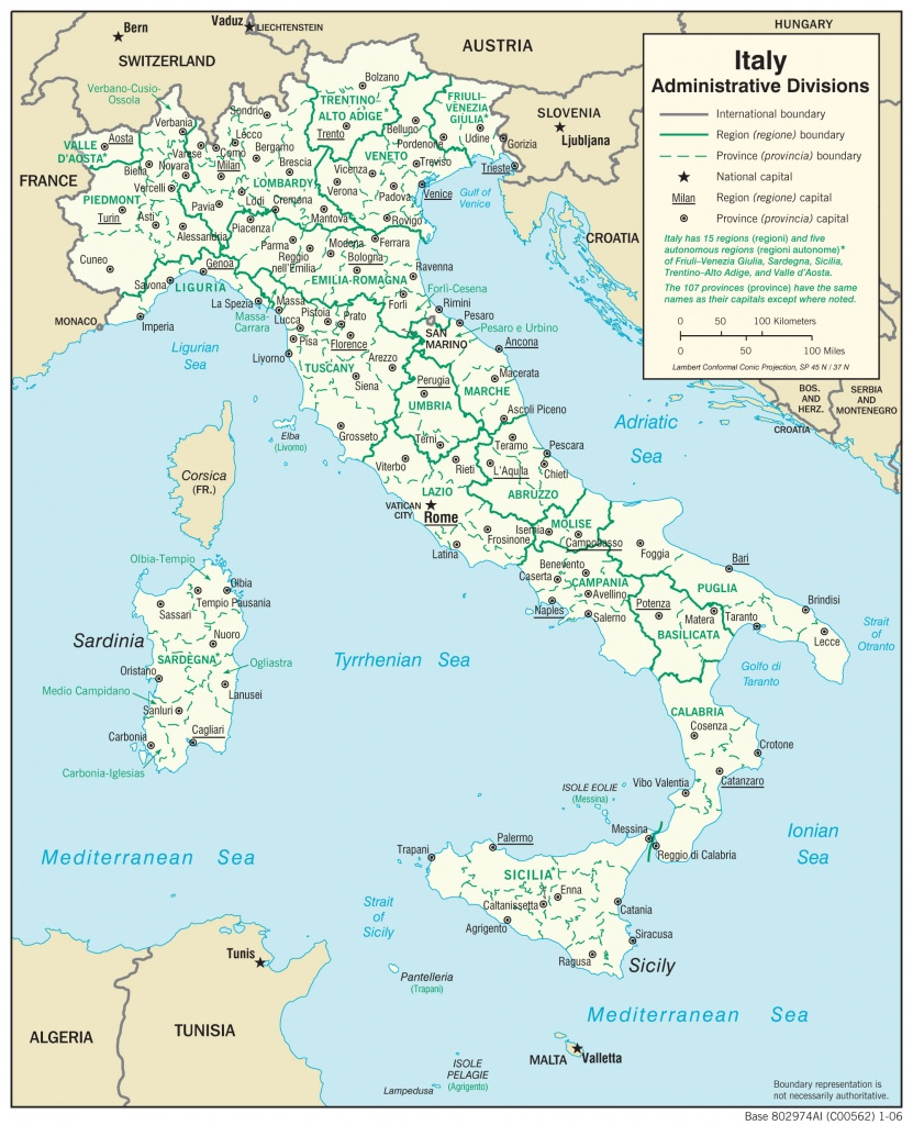 Italy — Central Intelligence Agency - Printable Map Of Italy For Kids