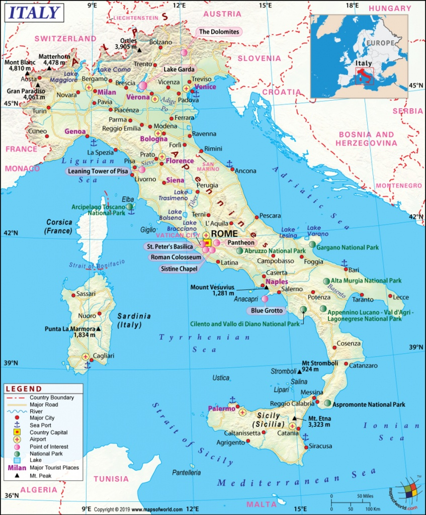 Italy Map, Map Of Italy, History And Intreseting Facts Of Italy - Printable Map Of Italy With Cities And Towns
