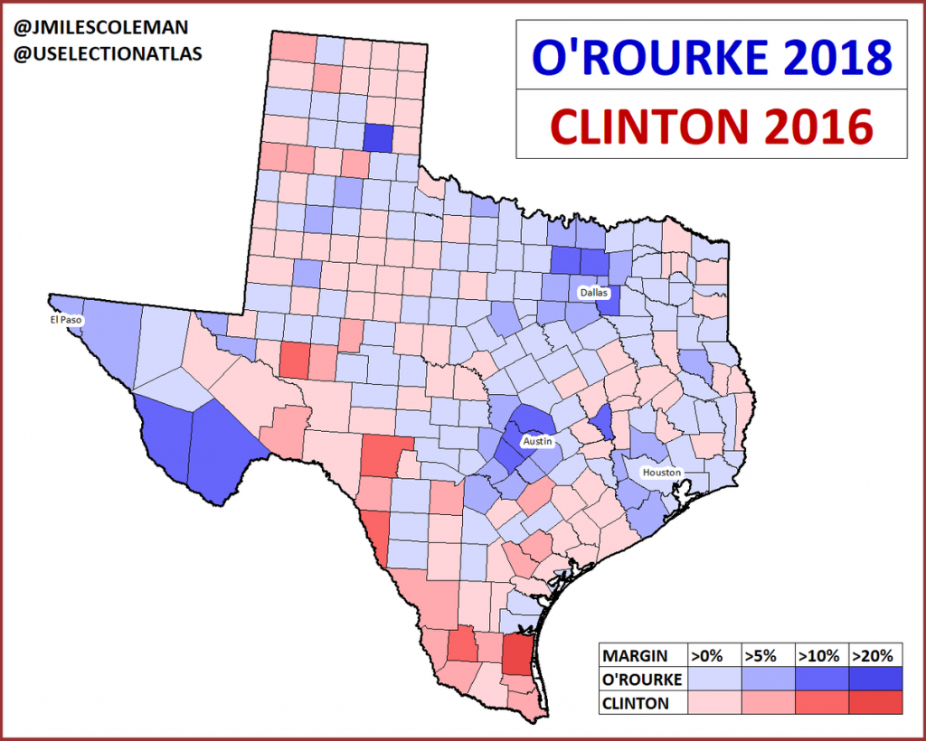 "J. Miles Coleman On Twitter: ""here's A Comparison Between Hillary - Beto For Texas Map"