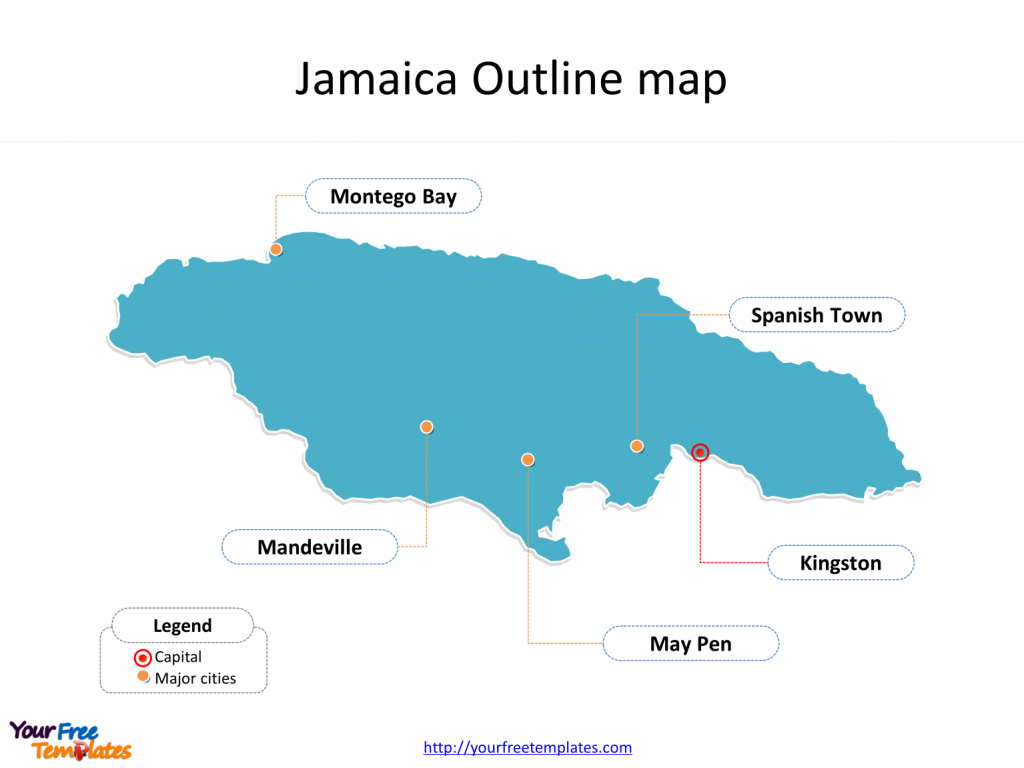 Jamaica Map Blank Templates - Free Powerpoint Templates - Free Printable Map Of Jamaica