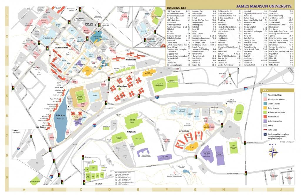 James Madison University - Campus Map - Uw Madison Campus Map Printable
