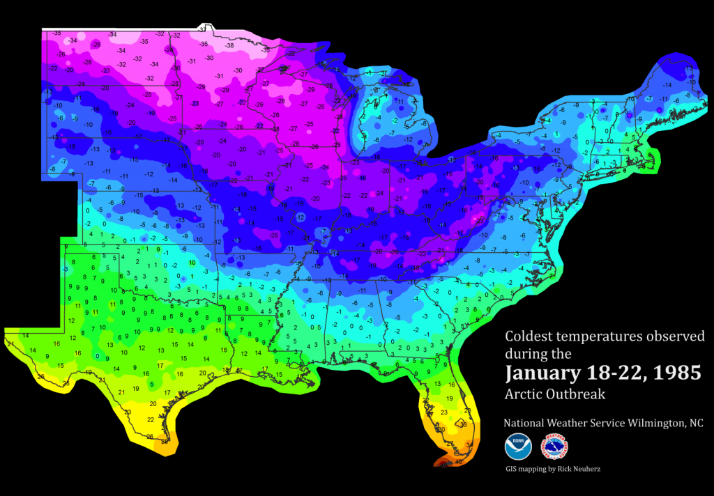 January 1985 Record-Breaking Cold - Florida Weather Map With Temperatures