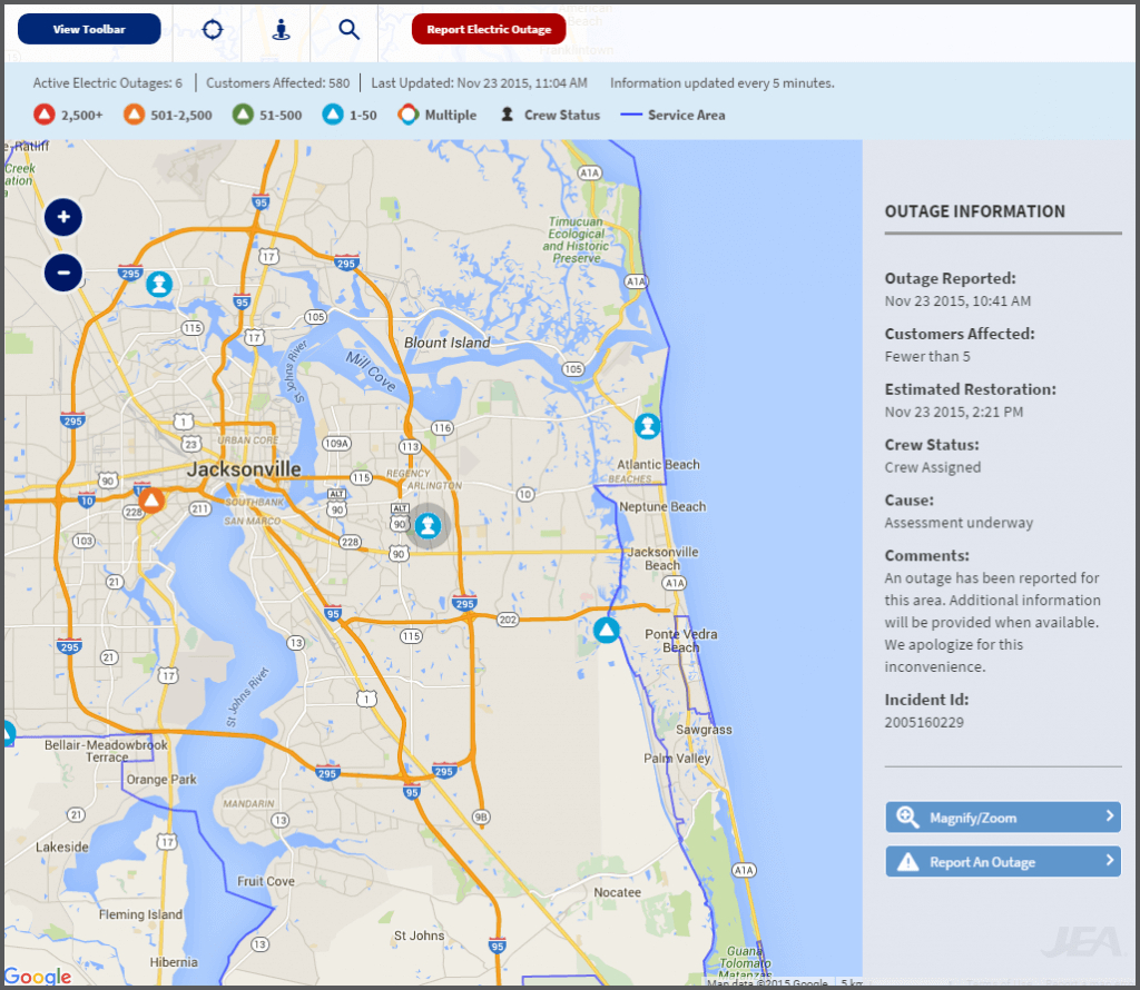 Jea Updates Power Outage Map And Automated Alerts For Customers - Florida Power Outage Map