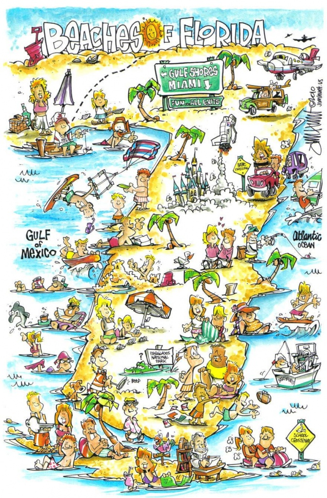 Jim Hunt's Map Of The Beaches Of Florida..i Want To See More - Florida Cartoon Map