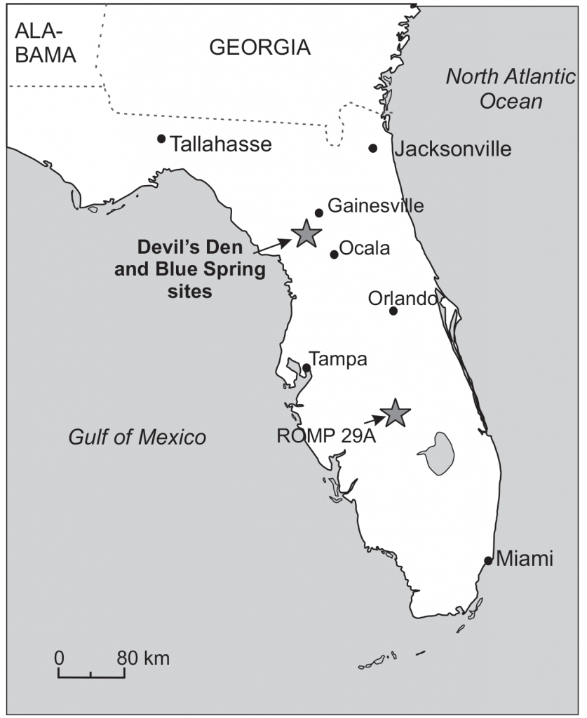 Jm - Larger Foraminifera Of The Devil's Den And Blue Hole Sinkholes - Devil's Den Florida Map