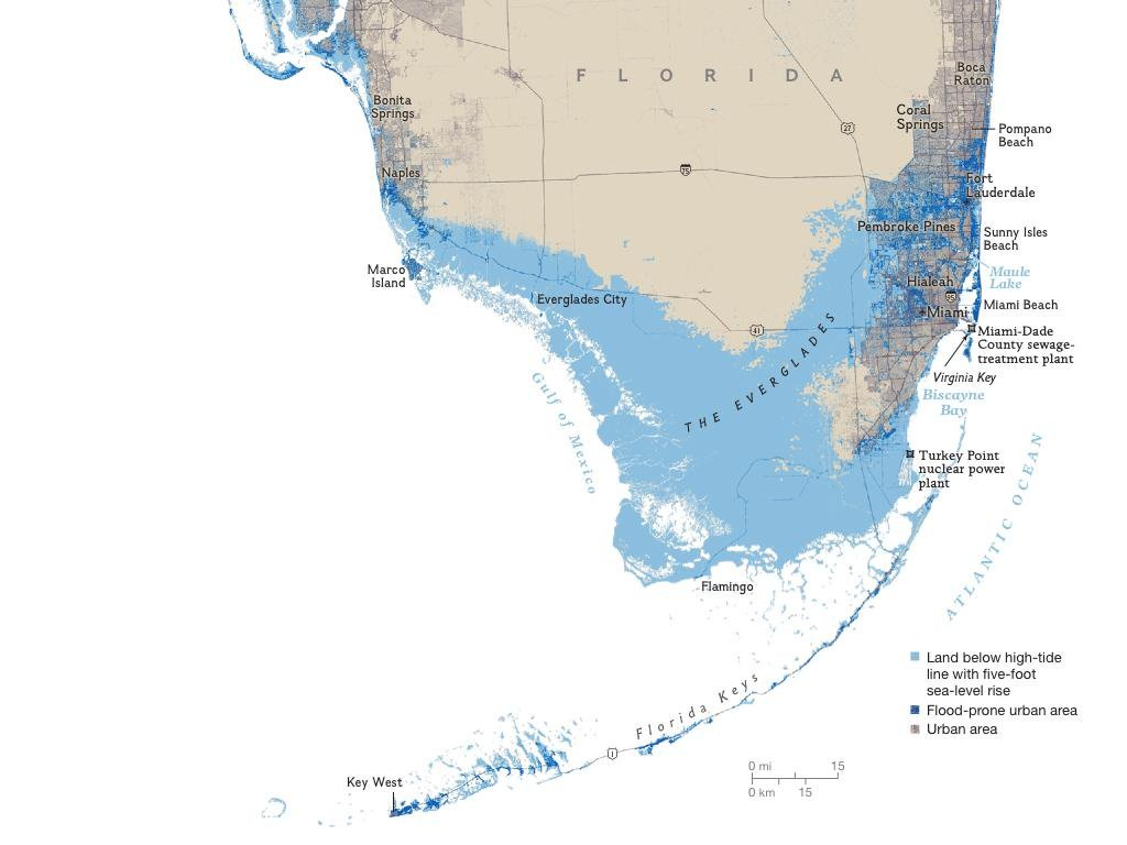 "John Morales On Twitter: ""off February's Issue Of @natgeomag, The - South Florida Sea Level Rise Map"