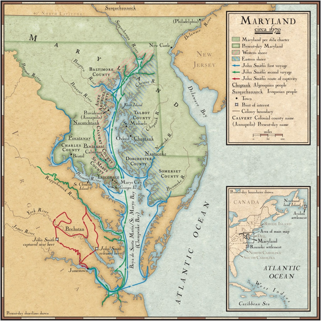 John Smith's Exploration Routes In The Chesapeake Bay   National - Printable Map Of Chesapeake Bay