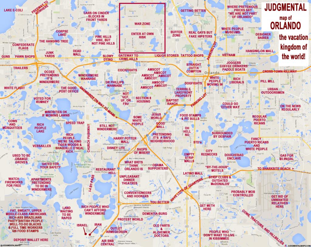 Judgmental Maps — Orlando, Florlando Truth Copr. 2016 Orlando - Map Of Orlando Florida Area