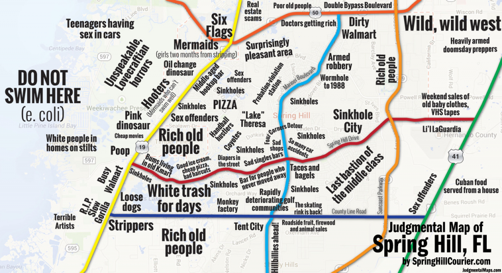 Judgmental Maps — Spring Hill, Flspring Hill Courier Copr. 2014 - Spring Hill Florida Map