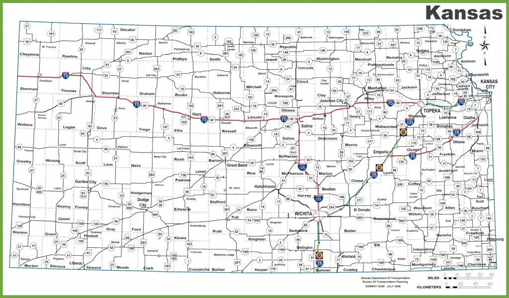 Kansas Road Map - Printable Kansas Map With Cities