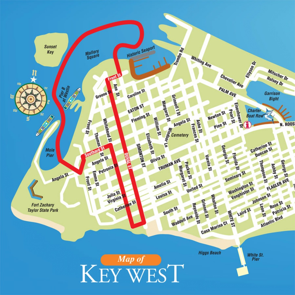 Key West Ducks Route Map | Southernmost Duck Tours - Street Map Of Key West Florida