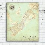 Key West Fl Canvas Print Florida Keys Fl Vintage Map City Plan Map   Florida Keys Map Poster