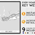 Key West Map Print, Key West Print, Florida Keys Map, Key West City Map,  Key West Poster, Key West Wall Art, Map Of Key West, Key West Art   Key West Street Map Printable