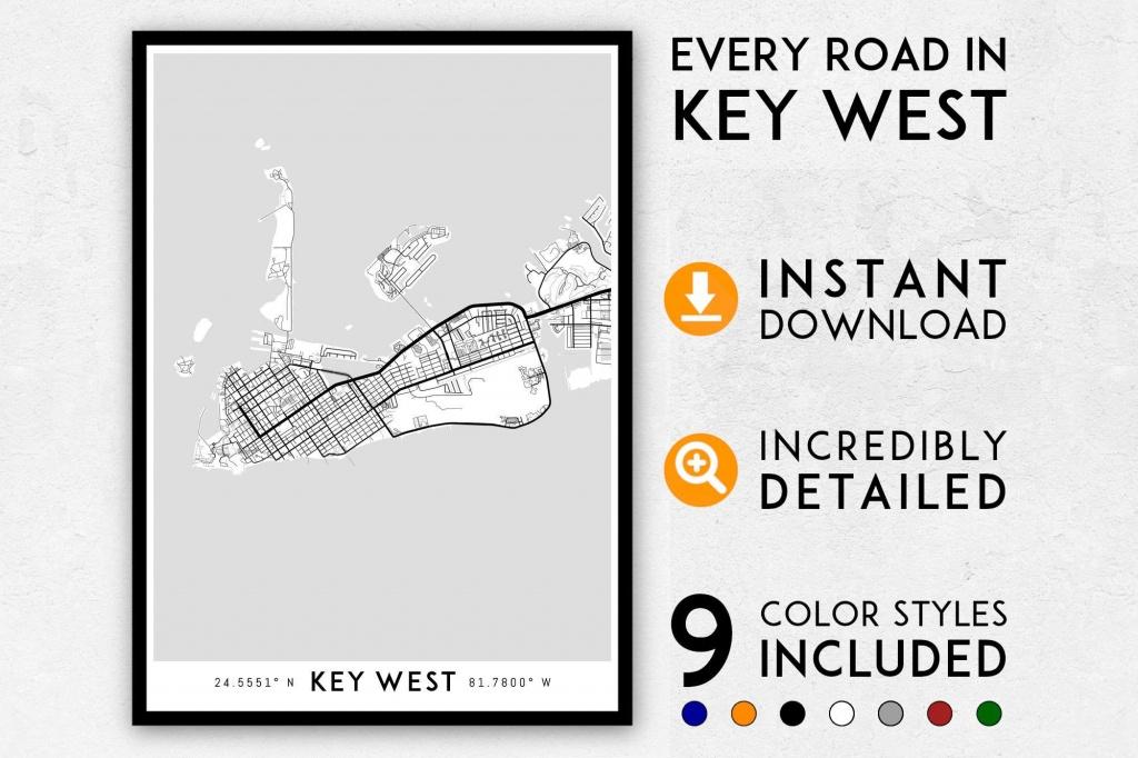 Key West Map Print, Key West Print, Florida Keys Map, Key West City Map,  Key West Poster, Key West Wall Art, Map Of Key West, Key West Art - Key West Street Map Printable
