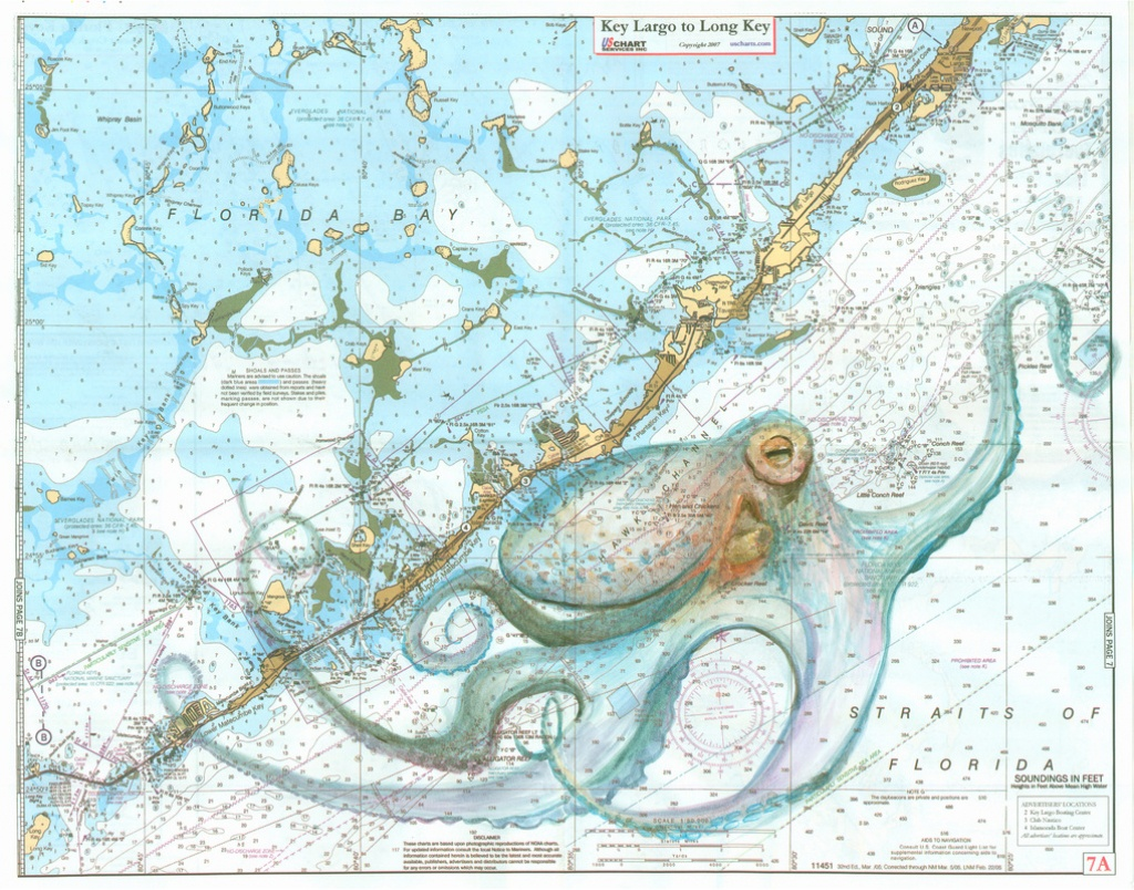 Keys Octopus - Florida Keys Map Art