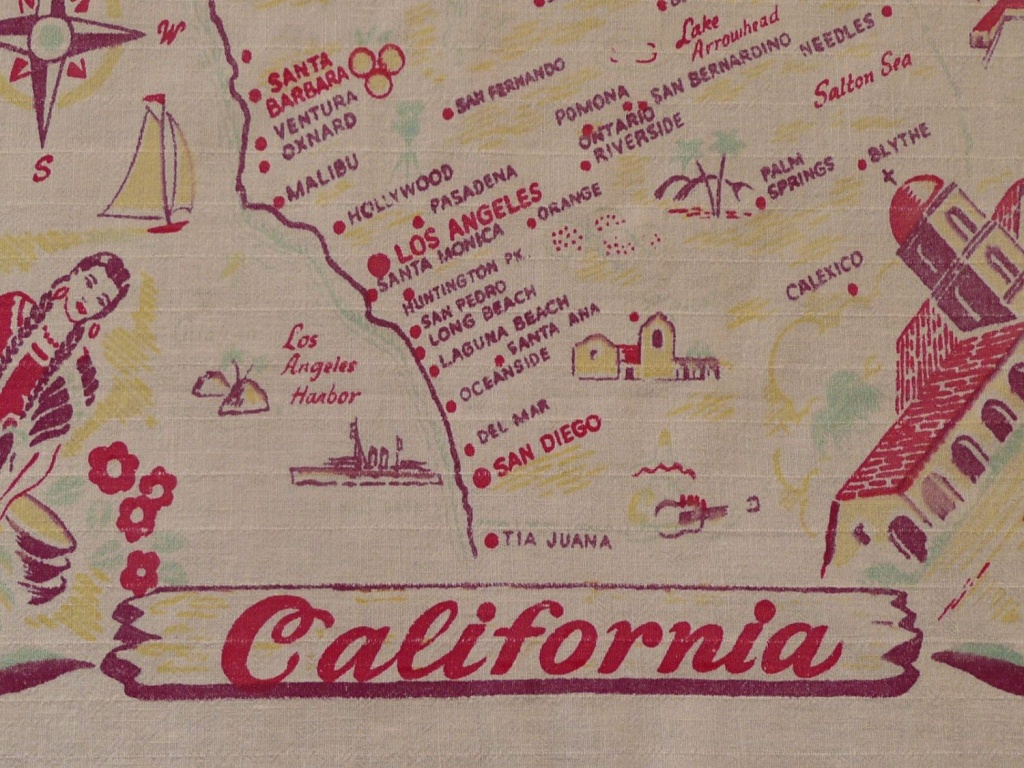 Kitschy Vintage California State Map Tablecloth, California Souvenir - Vintage California Map Tablecloth